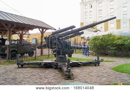 Moscow, Russia - 3 September, Former anti-aircraft gun, 3 September, 2016. Museum of military equipment and retro cars.