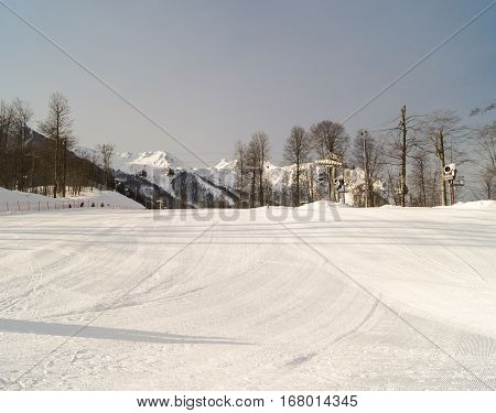 Wide ski slope. The complex mountain-ski runs and facilities in the village of Rosa Khutor.