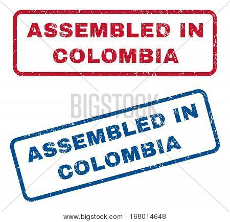 Assembled In Colombia text rubber seal stamp watermarks. Vector style is blue and red ink tag inside rounded rectangular shape. Grunge design and scratched texture. Blue and red emblems.