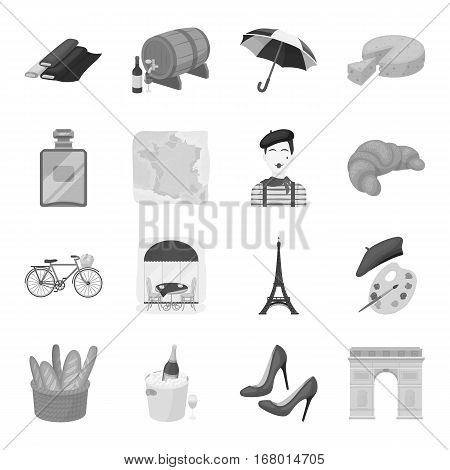 France country set icons in monochrome design. Big collection of France country vector symbol stock illustration