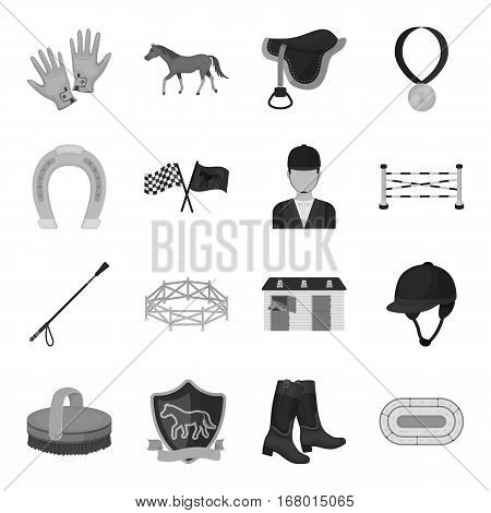 Hippodrome and horse set icons in monochrome design. Big collection of hippodrome and horse vector symbol stock illustration