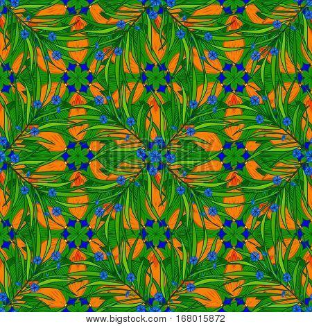 Stock Vector Illustration. Blue. Grass. Orange. Green.