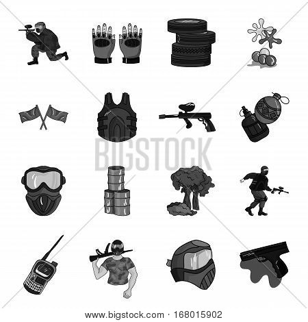 Paintball set icons in monochrome design. Big collection of paintball vector symbol stock illustration