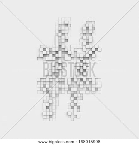 3d rendering of large octothorp symbol made up of white square uneven tiles on white background. Letters and numbers. Symbolism. Punctuation marks.
