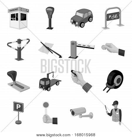 Parking zone set icons in monochrome design. Big collection of parking zone vector symbol stock illustrationCar