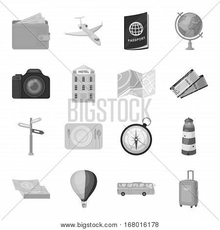 Rest and travel set icons in monochrome design. Big collection of rest and travel vector symbol stock illustration