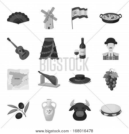 Spain country set icons in monochrome design. Big collection of Spain country vector symbol stock illustration