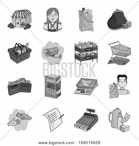 Supermarket set icons in monochrome design. Big collection of supermarket vector symbol stock illustration