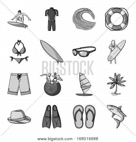 Surfing set icons in monochrome design. Big collection of surfing vector symbol stock illustration