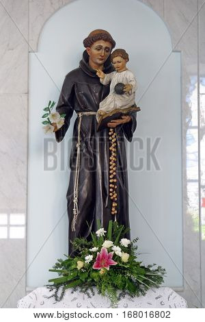 LASINJA, CROATIA - JUNE 21: Saint Anthony of Padua holding baby Jesus, Parish Church of Saint Anthony of Padua in Lasinja, Croatia on June 21, 2011.