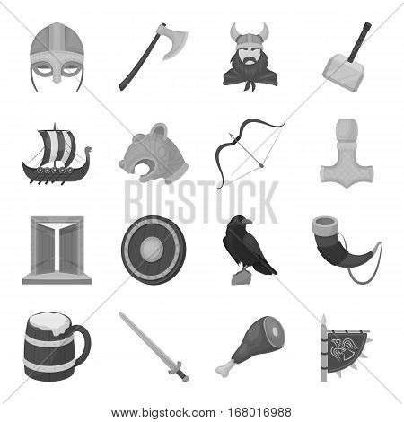 Vikings set icons in monochrome design. Big collection of vikings vector symbol stock illustration