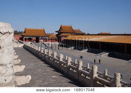 BEIJING - FEBRUARY 23:  Palace of Heavenly Purity Qianqinggong in Forrbiden city, Beijing, China, February 23, 2016.