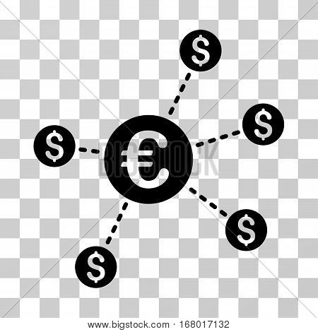 Currency Network Nodes icon. Vector illustration style is flat iconic symbol, black color, transparent background. Designed for web and software interfaces.