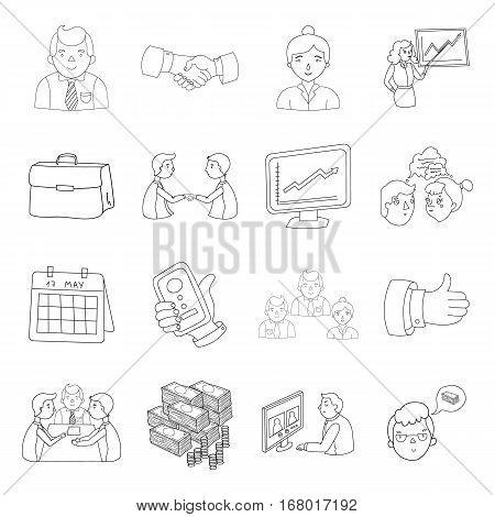Conference and negetiations set icons in outline design. Big collection of conference and negetiations vector symbol stock illustration