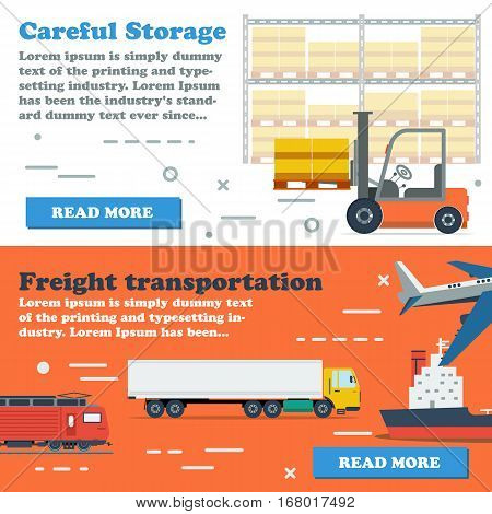 Vector two horizontal banners of freight transportation in world and careful storage by forklift. Web elements in flat style with simple text