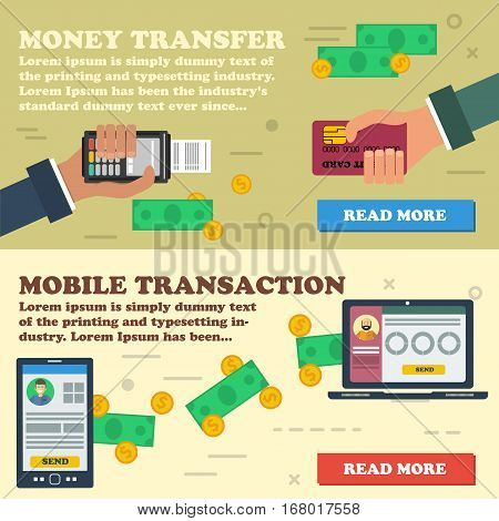 Vector two horizontal banners mobile online payment. Financial operation money online transaction banking online easy money transfer in flat style. Two hands with credit card and atm terminal. Money transfering between devices