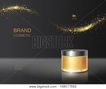 Cosmetic product poster ads, gold bottle package design with moisturizer hydrating luxury facial cream, black background glitter sparkles, vector.