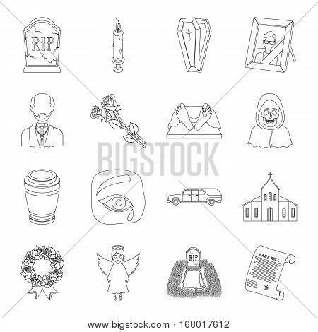 Funeral ceremony set icons in outline design. Big collection of funeral ceremony vector symbol stock illustration