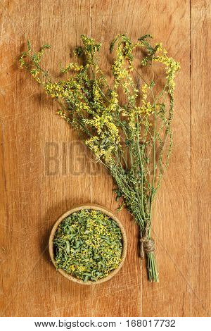 Melilot. Dried herbs for use in alternative medicine spa herbal cosmetics herbal medicine preparing infusions decoctions tinctures powders ointments butter tea bath.