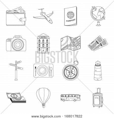 Rest and travel set icons in outline design. Big collection of rest and travel vector symbol stock illustration