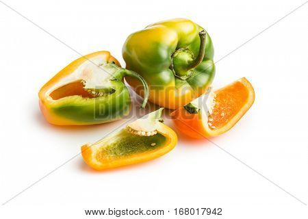 Multicolored bell pepper isolated on white background.