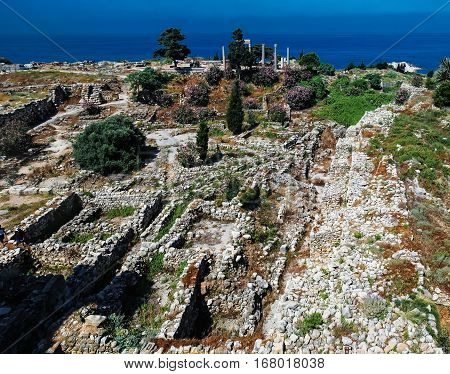 Panorama view of Ancient Byblos ruin Jubayl Lebanon