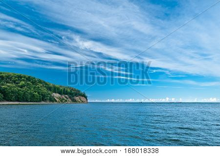 View of the cliff in Gdynia Orlowo. Summertime.