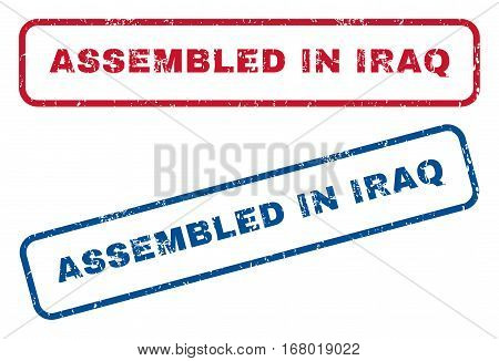 Assembled In Iraq text rubber seal stamp watermarks. Vector style is blue and red ink tag inside rounded rectangular shape. Grunge design and unclean texture. Blue and red signs.