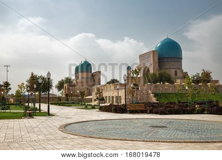 Shakhrisabz Uzbekistan. Ancient complex Dorut Tilavat XIV-XV century and new park around it