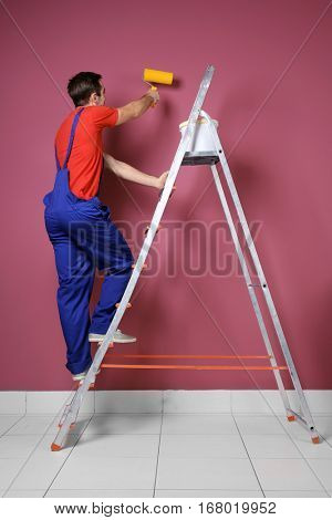 Young decorator painting wall while standing on ladder