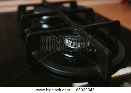 Gas burner without flame. Modern black stove no fire.