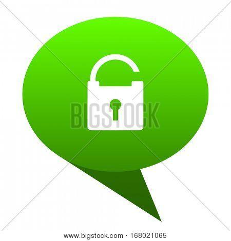 Padlock green bubble web icon