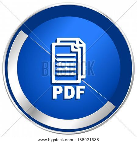 Pdf silver metallic web and mobile phone vector icon in eps 10.