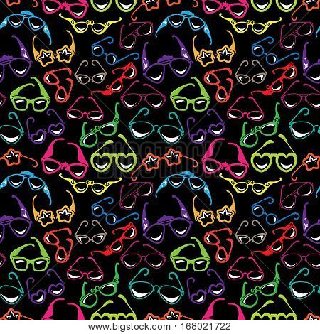 Seamless pattern with Colorful sunglasses icon isolated on black background. Background for summer vacation travel design.