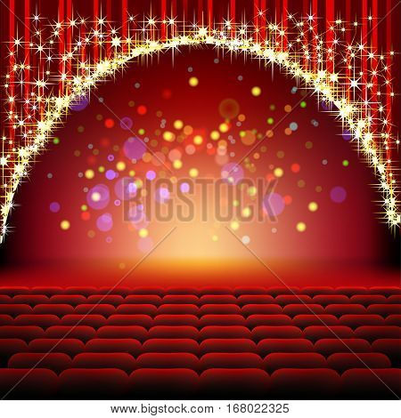 Cinema. Theater Hall with Seats and a red Curtain with Gold glitter and Stars. Illustration vector.