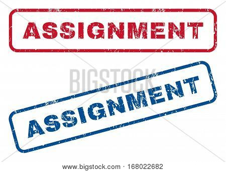 Assignment text rubber seal stamp watermarks. Vector style is blue and red ink caption inside rounded rectangular banner. Grunge design and unclean texture. Blue and red signs.