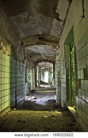 Interiors of corridor of an abandoned mansion of Khvostov in gothic style, Lipetsk region