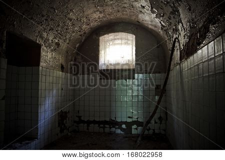 Interiors of an abandoned mansion of Khvostov in gothic style, Lipetsk region