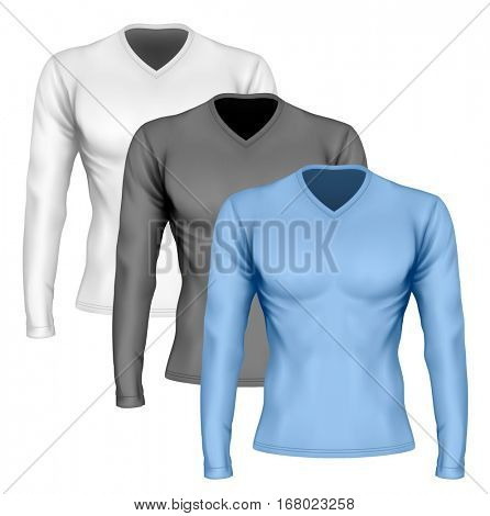 Long-sleeve t-shirt with v-neck on the men's sports figure (front view of t-shirt). Vector illustration. Fully editable handmade mesh.