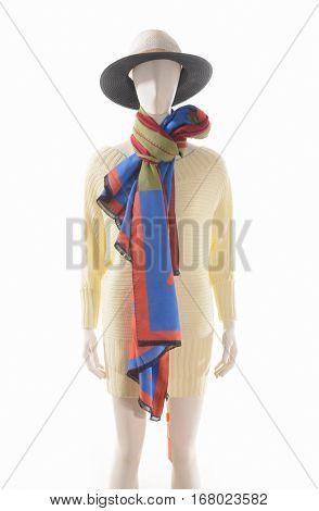 women dress with hat, scarf on dummy â??white background