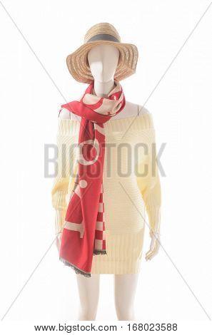 women dress with hat, scarf on dummy