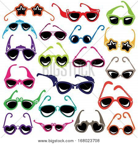 Colorful sunglasses icon set isolated on white background.