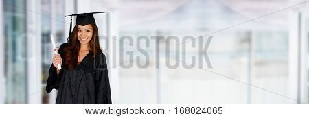 Student graduating school with a cap and gown