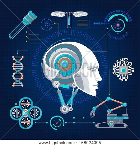 Hi-tech technology concept with robotic cybernetic artificial objects and elements on blue grid background vector illustration