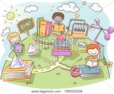 Stickman Illustration of a Group of Kids Reading Physics Books Outside