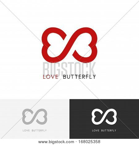Love butterfly logo - two red hearts or wings of the moth symbol. Valentine, relationship and infinity vector icon.