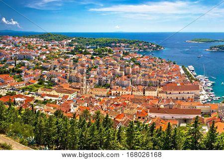 Hvar Island Old Historic Center Aerial Panoramic