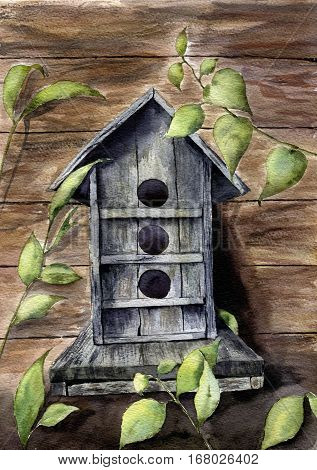 Watercolor spring print with birdhouse and greenery. Hand painted nesting box with leaves branch on wood background. Artist card for design