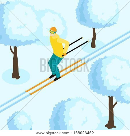 Skiing winter isometric template with moving from slide man between snowbound trees vector illsutration
