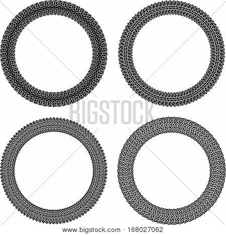 Set Of Four Round Vector Frames In Tire Traces Style.